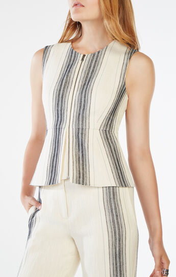Abrielle Striped Peplum Top