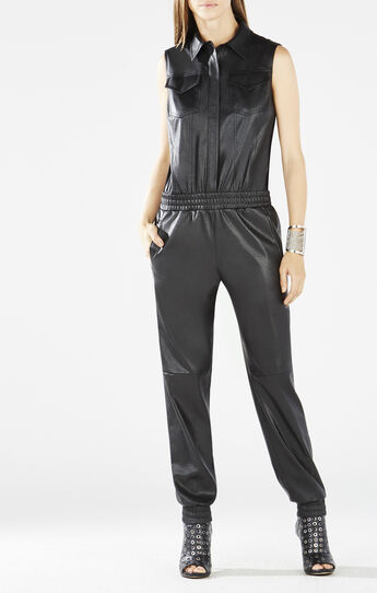 Lorna Faux-Leather Button-Down Jumpsuit