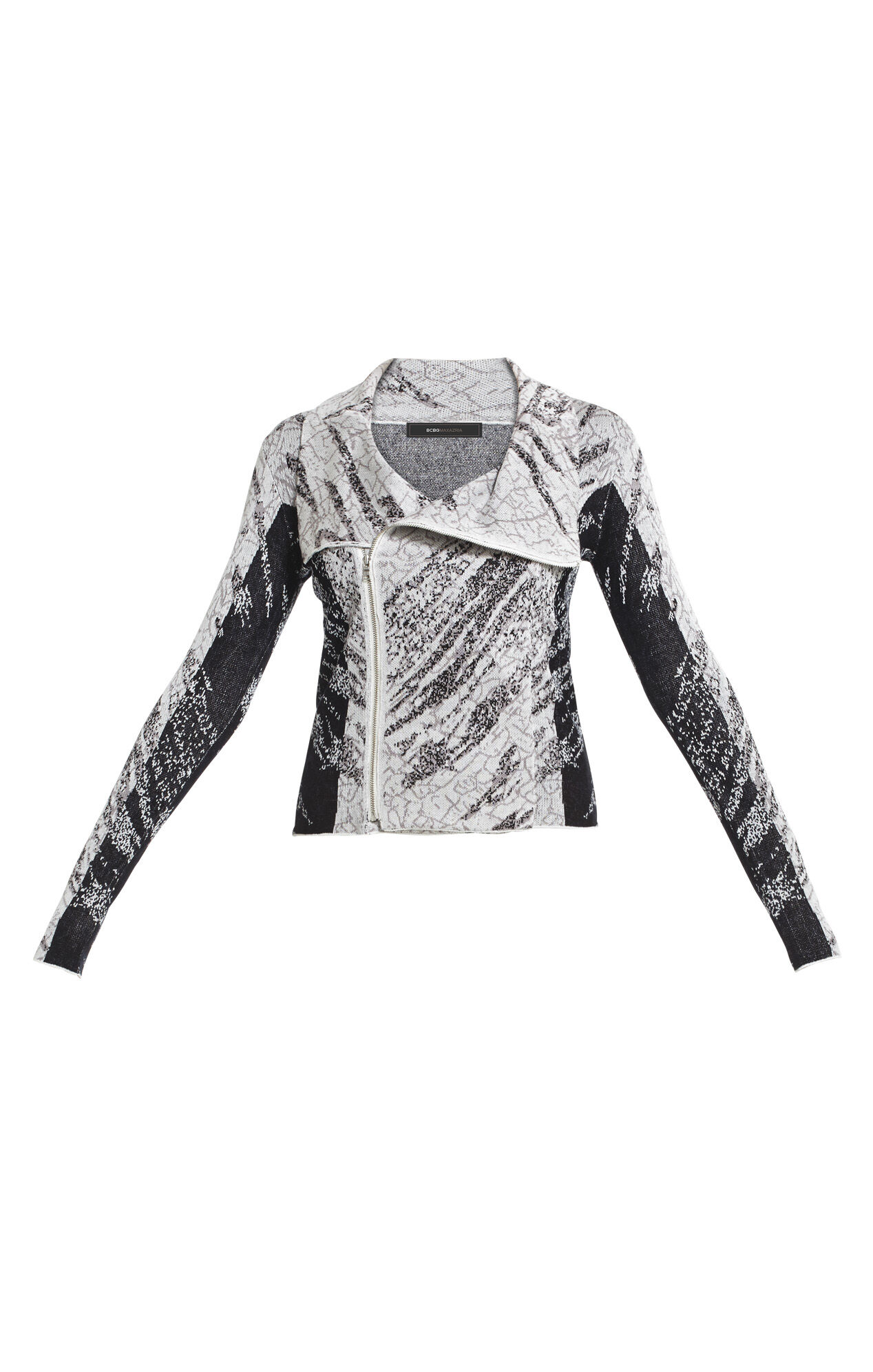 Eva Crackled-Jacquard Moto Jacket