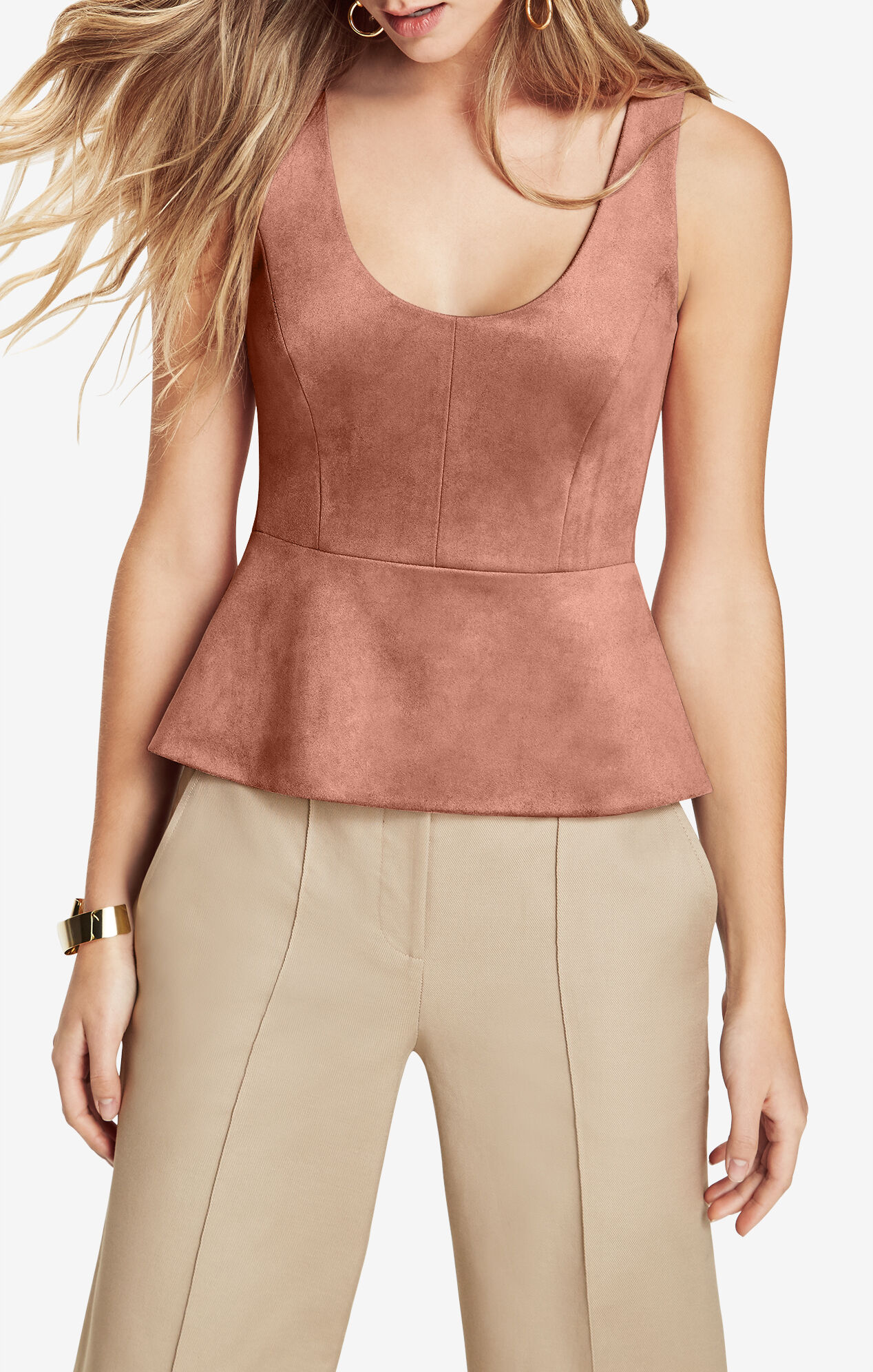 Cladiana Faux-Suede Peplum Top