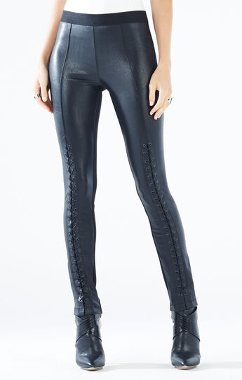 Beau Faux-Leather Lace-Up Legging