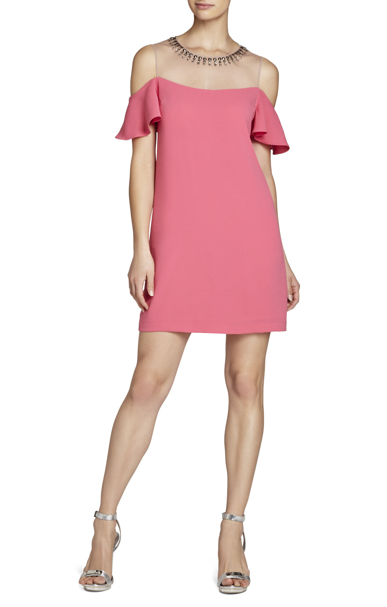 Candace Dropped Ruffle-Sleeve Dress