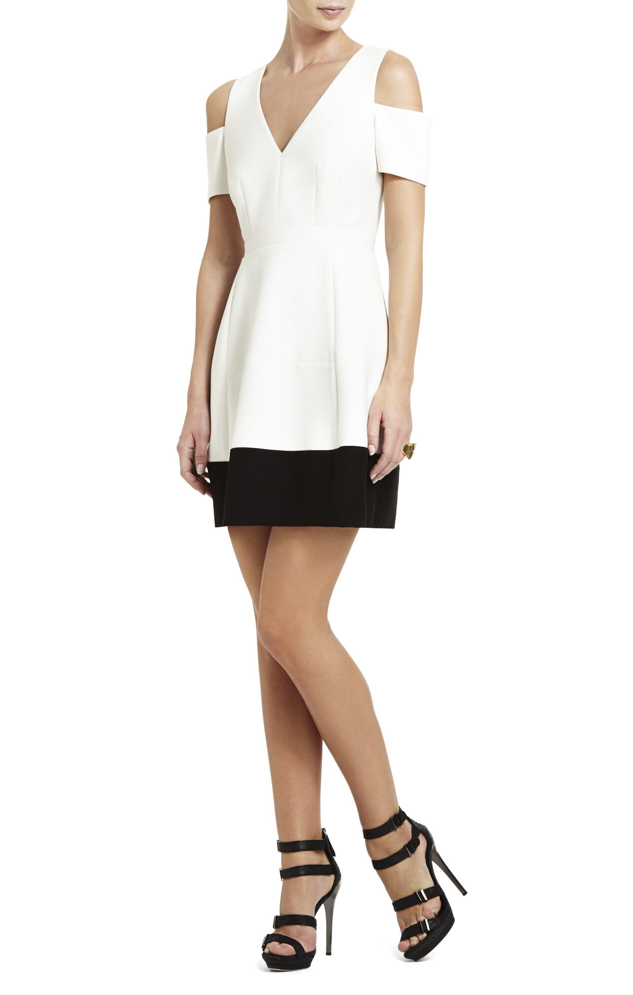 Krisa Open-Shoulder V-Neck Dress