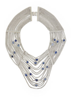Natural-Stone Draped-Chain Necklace