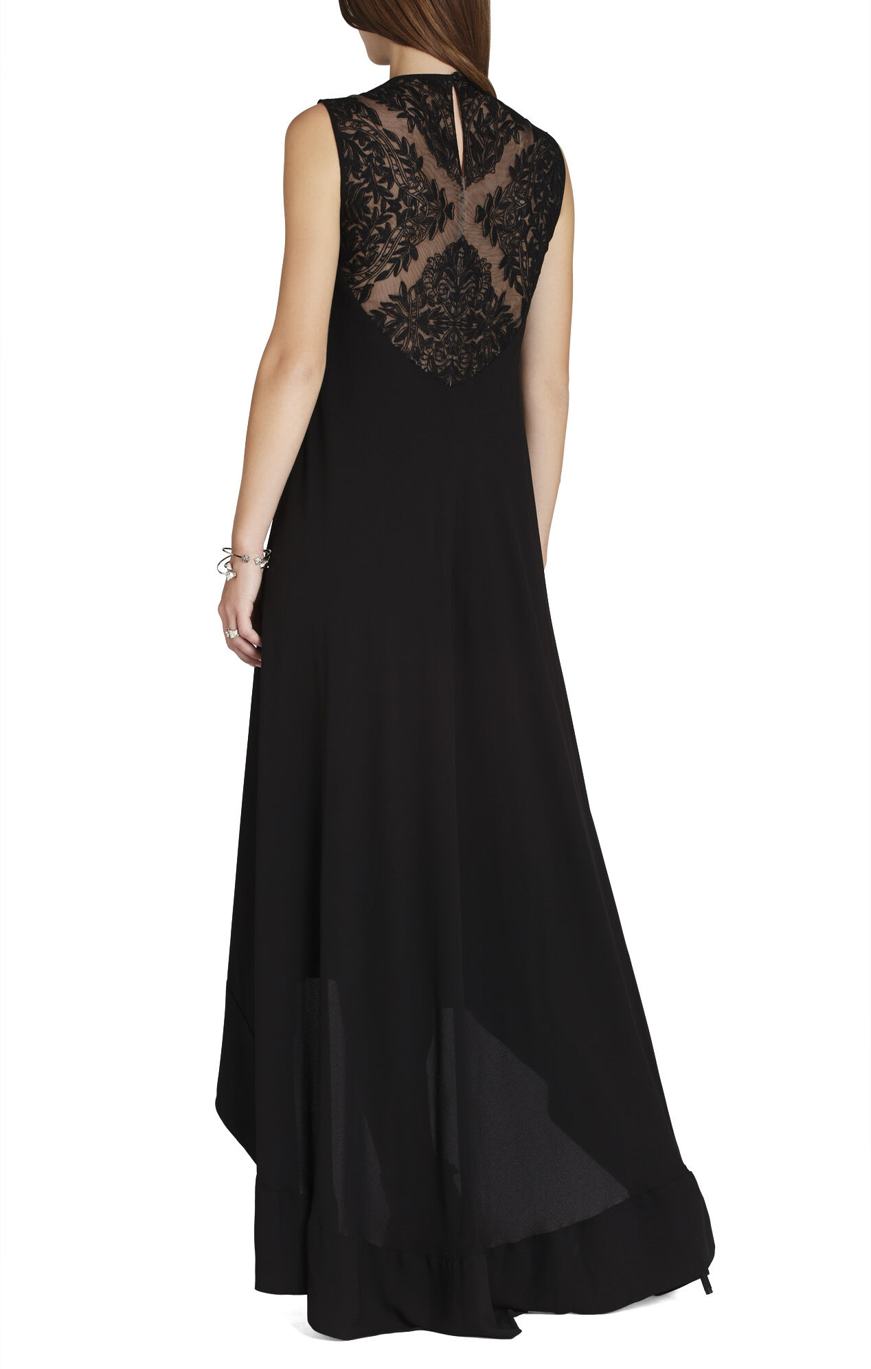 Denisa Sleeveless Lace-Yoke Gown