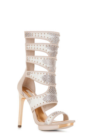 Lynx High-Heel Snake-Embossed Sandal