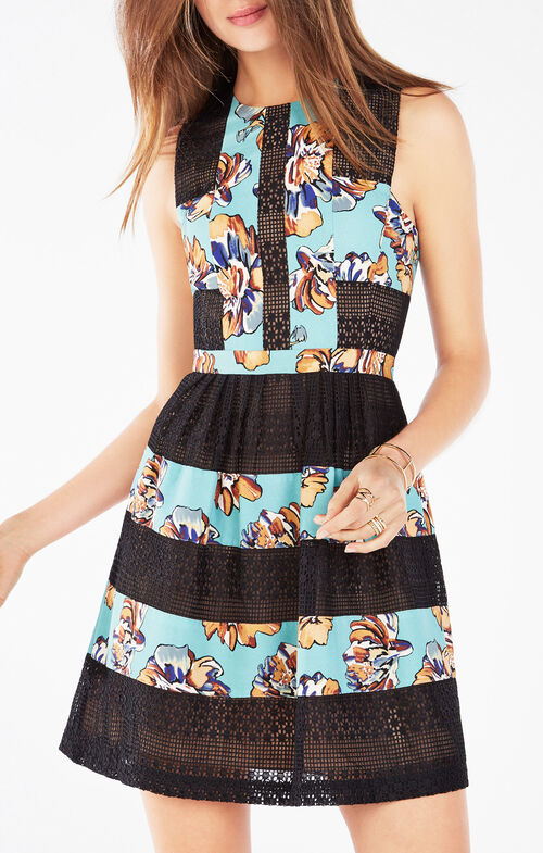 Cecile Print-Blocked Lace Dress