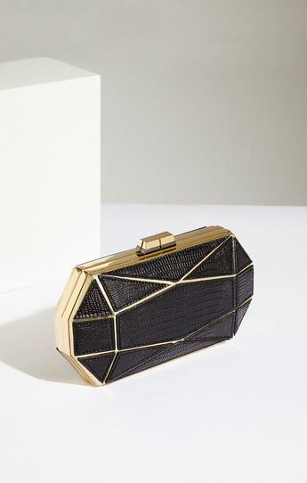 Kendyl Lizard Faux-Leather Clutch