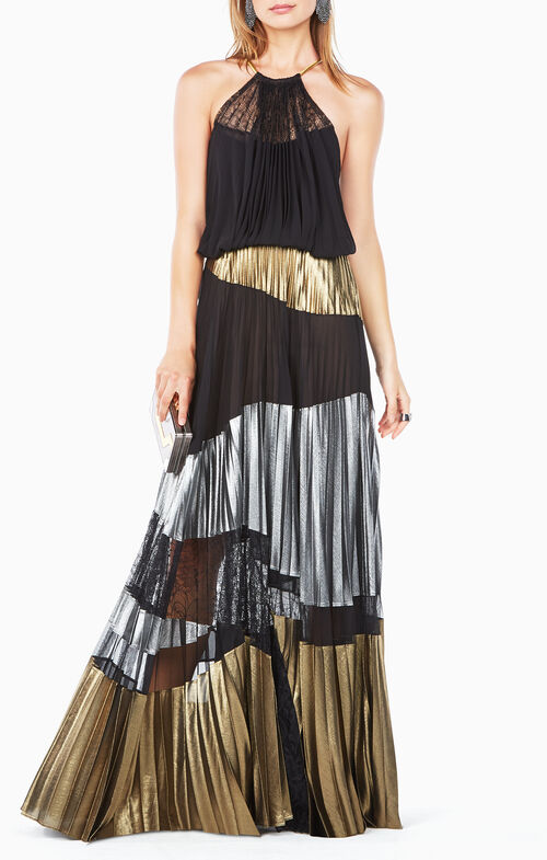 Delana Metallic-Blocked Dress