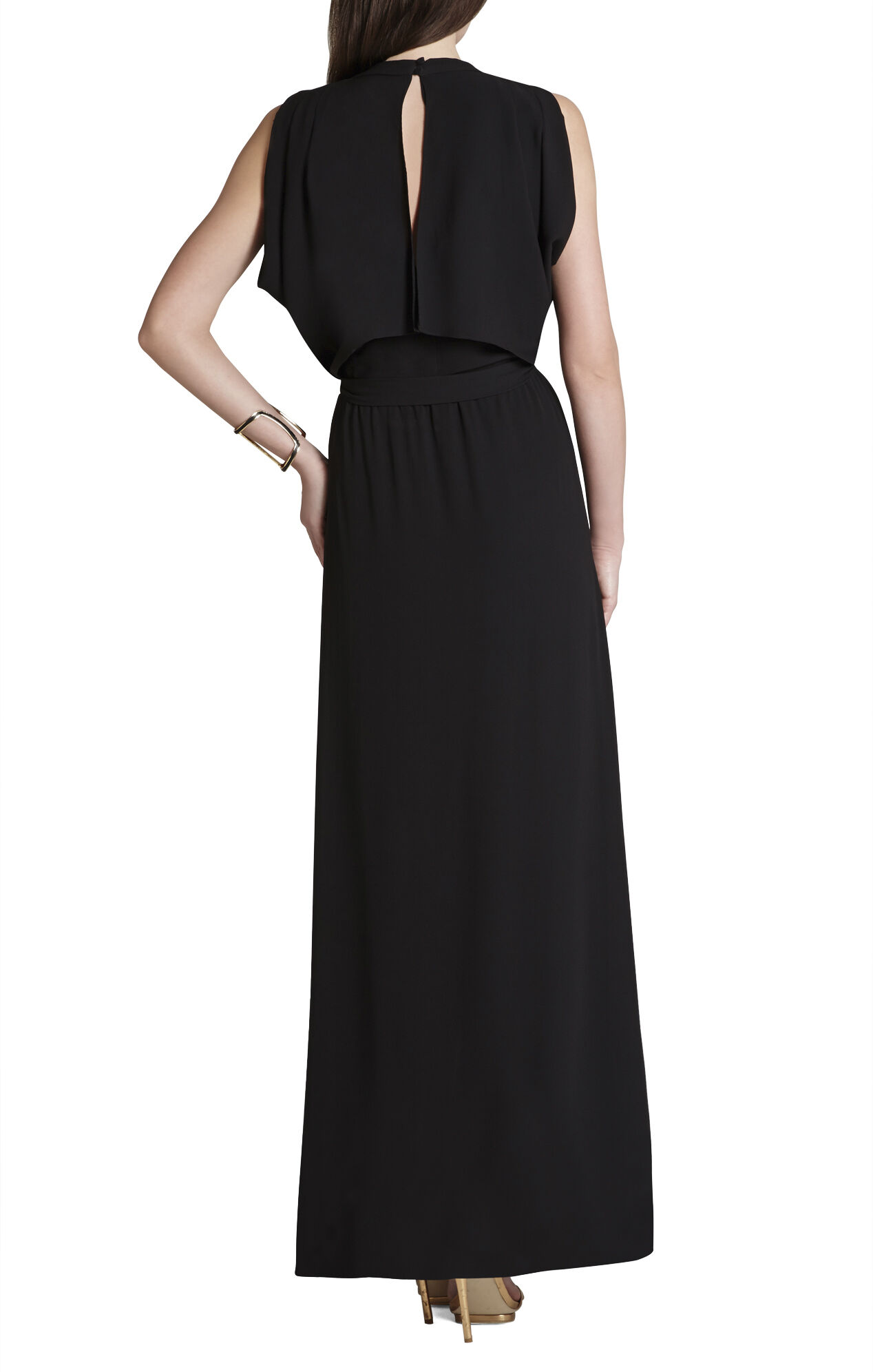 Raymee Sleeveless Draped Waist-Tie Maxi Dress