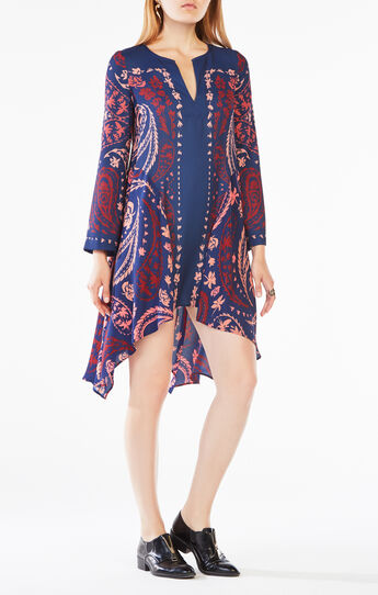 Geena Paisley Print-Blocked Dress