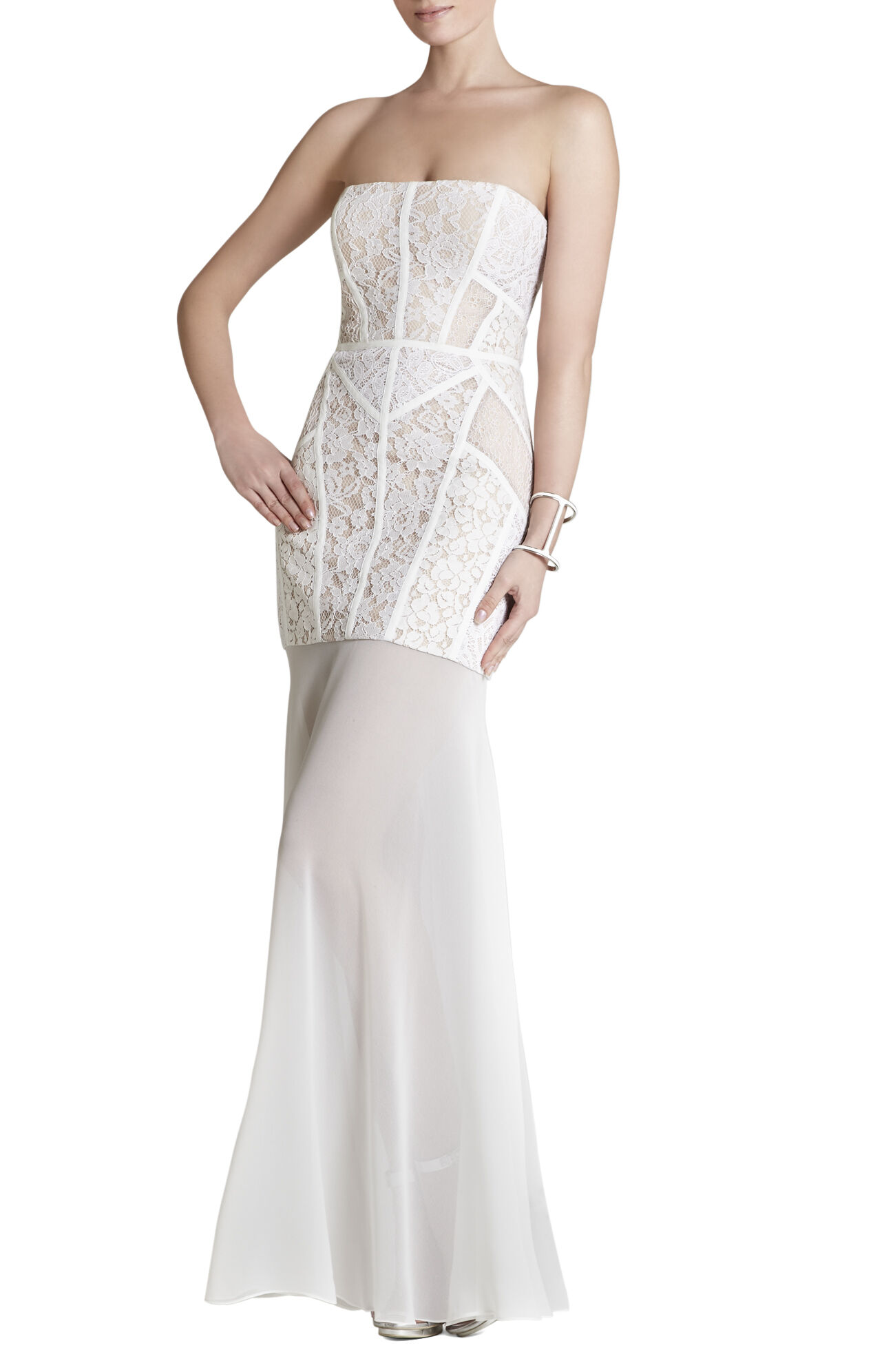 Vivienne Lace-Blocked Strapless Dress