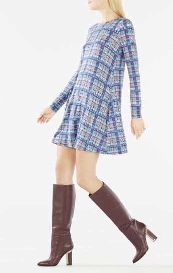Jeanna Long-Sleeve Plaid Dress