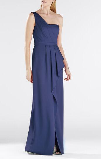 Kristine One-Shoulder Peplum Gown