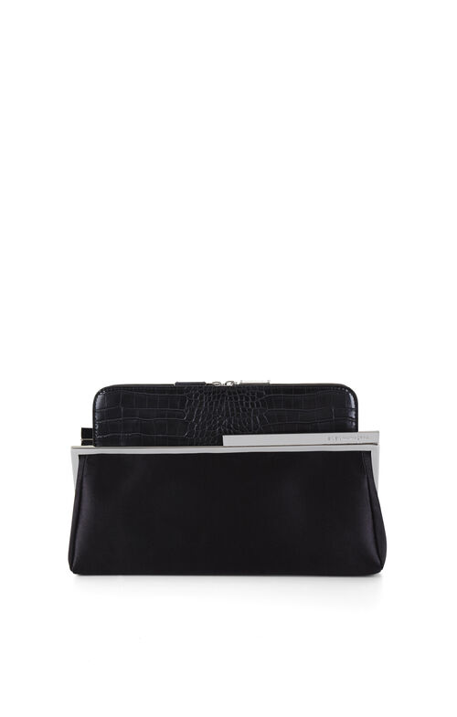 Darlene Satin and Faux Croco-Embossed Clutch