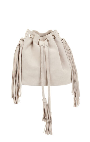 Faye Suede Fringe Bucket Bag