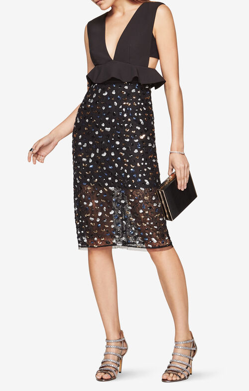 Rosalina Sequined Peplum Dress