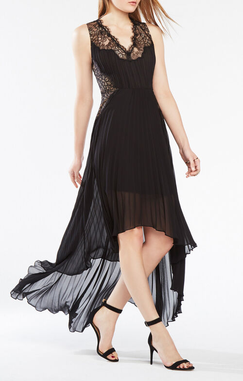 Angelea Lace-Trim Pleated Dress