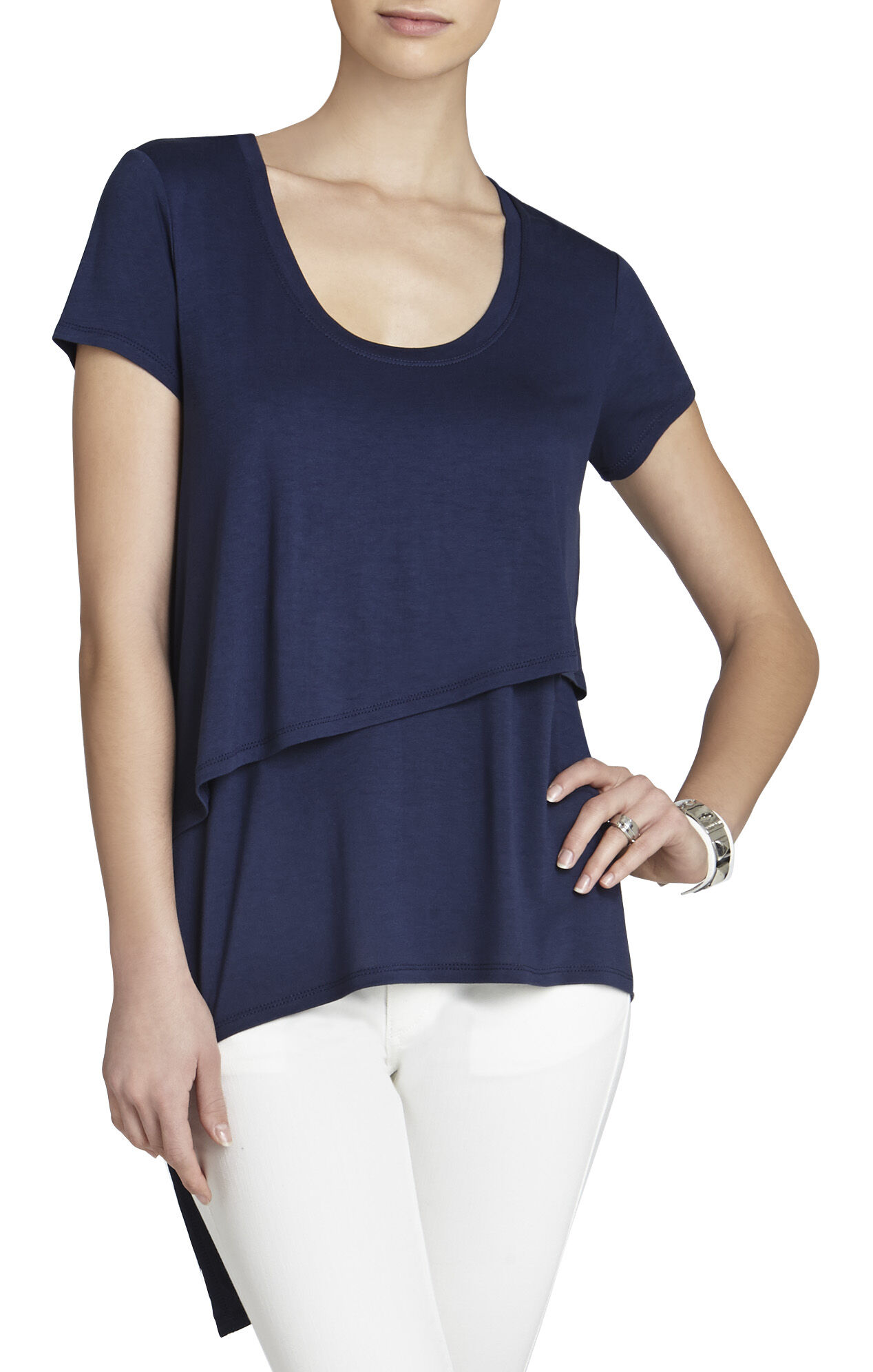 Dollie Short-Sleeve Asymmetrical Top