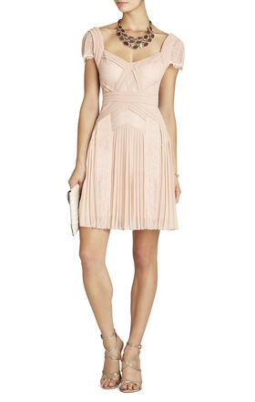 Aris Pleated Lace-Inset Cocktail Dress