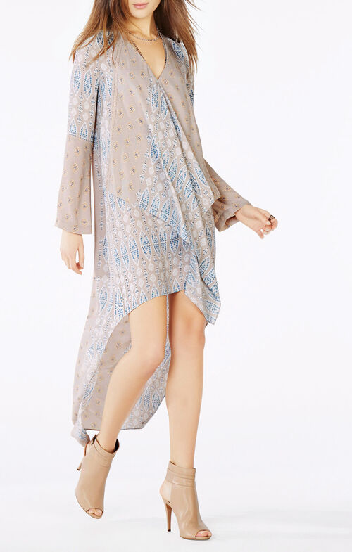 Kyndal Tapestry Print Ruffle High-Low Dress