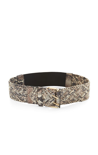 Braided Faux-Leather Python Waist Belt