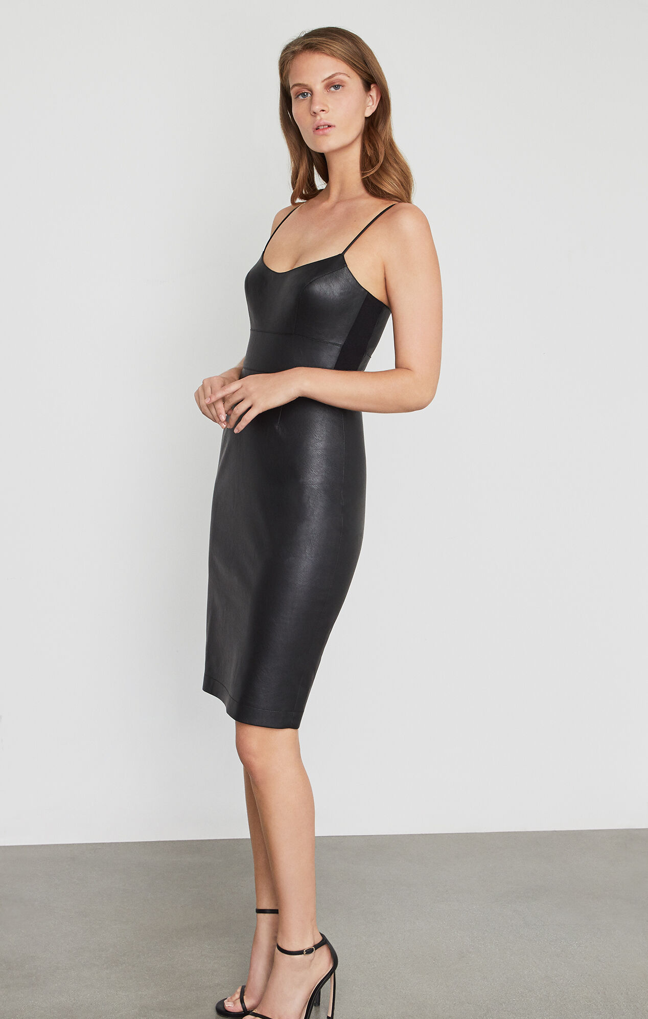 Alese faux leather dress for Leather wedding dresses black