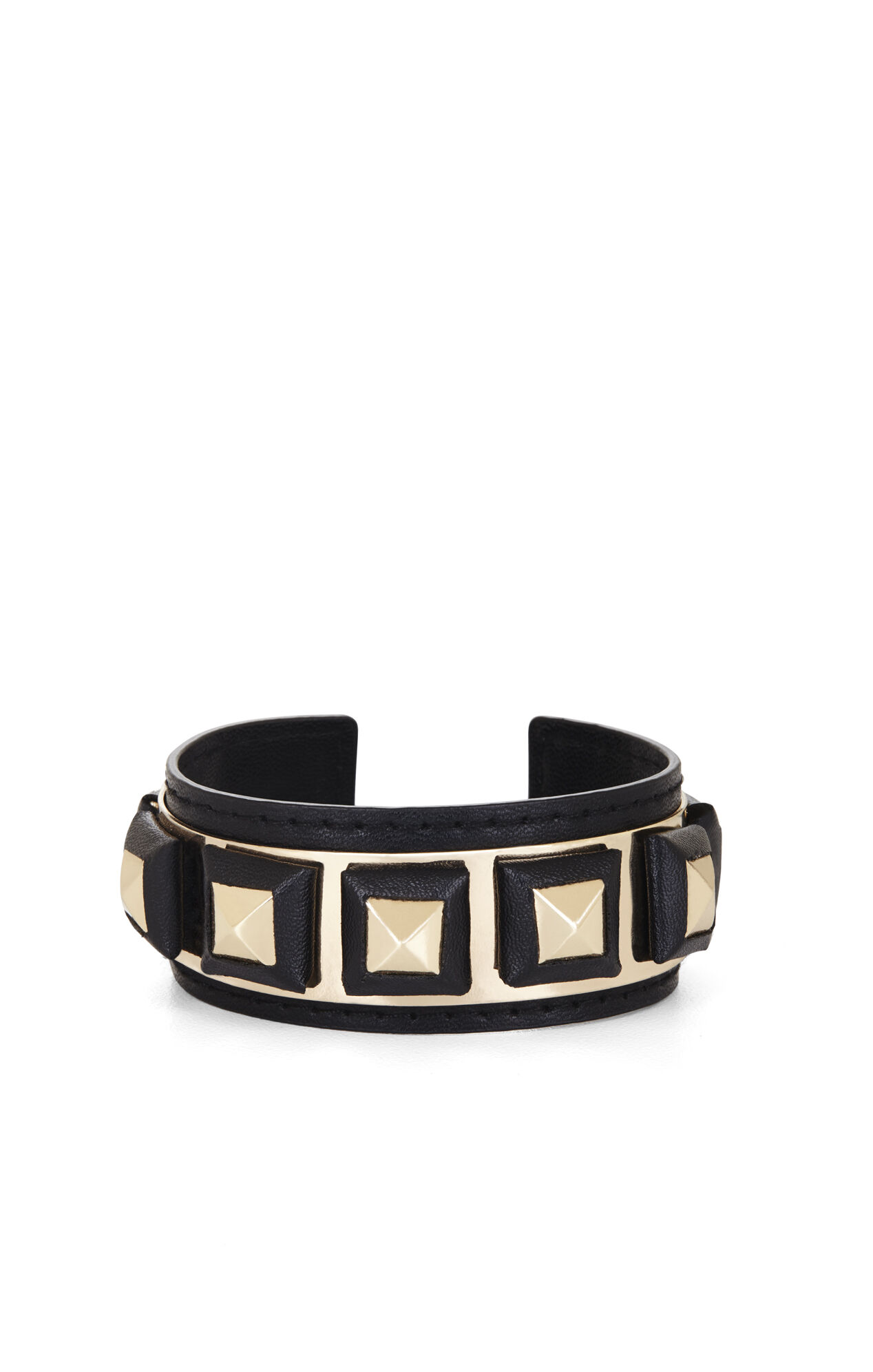 Faux-Leather Wrapped Pyramid Cuff