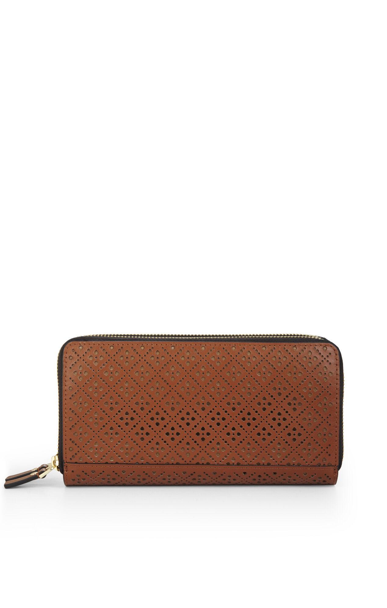 Kaya Lazer-Cut Double Zip-Around Wallet