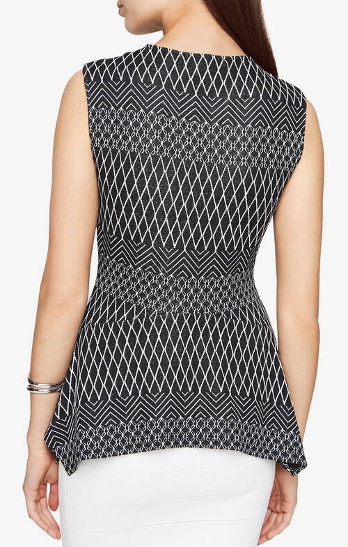 Quinn Deco-Knit Peplum Top