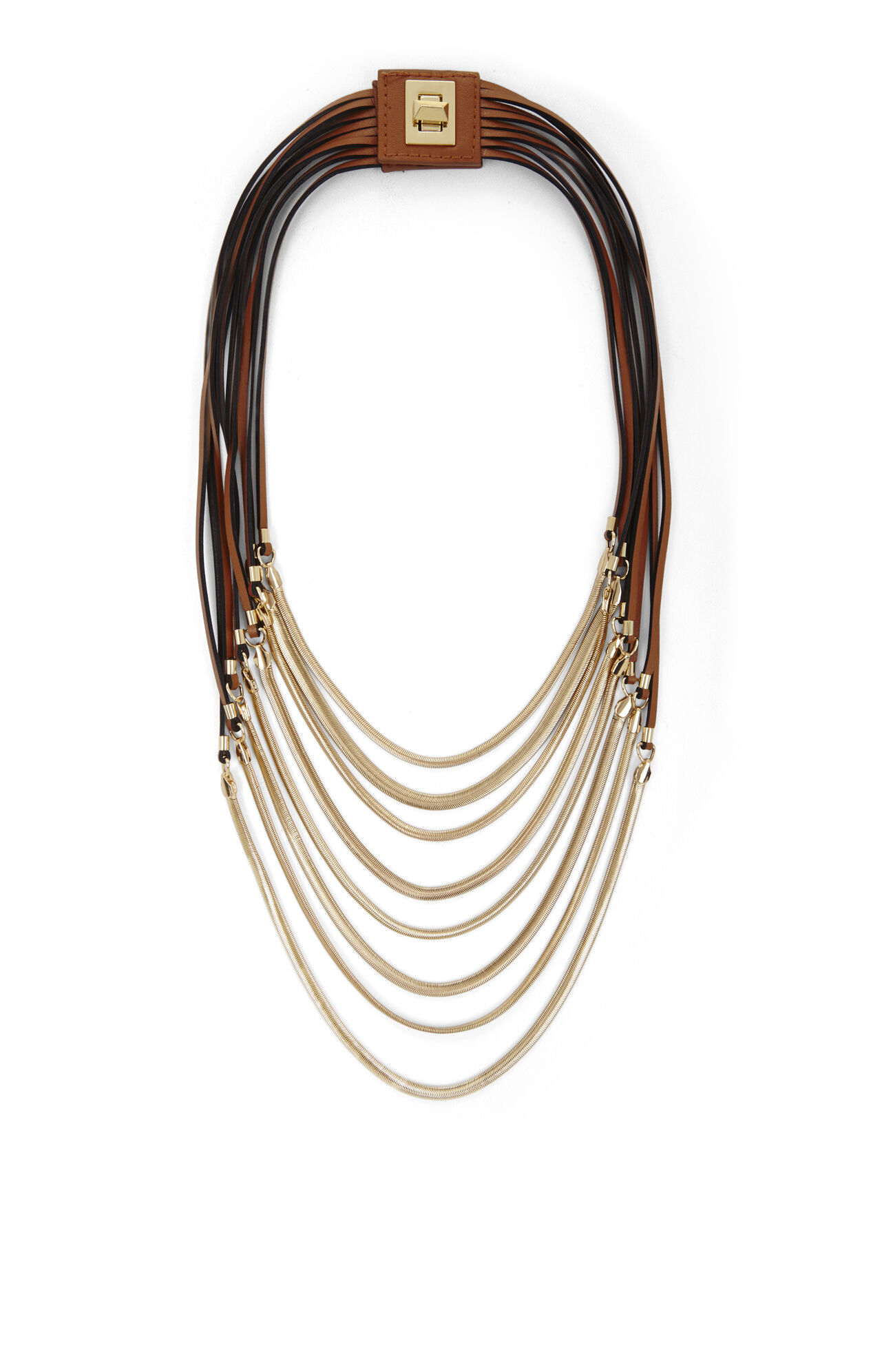 Faux-Leather Strap and Chain Necklace