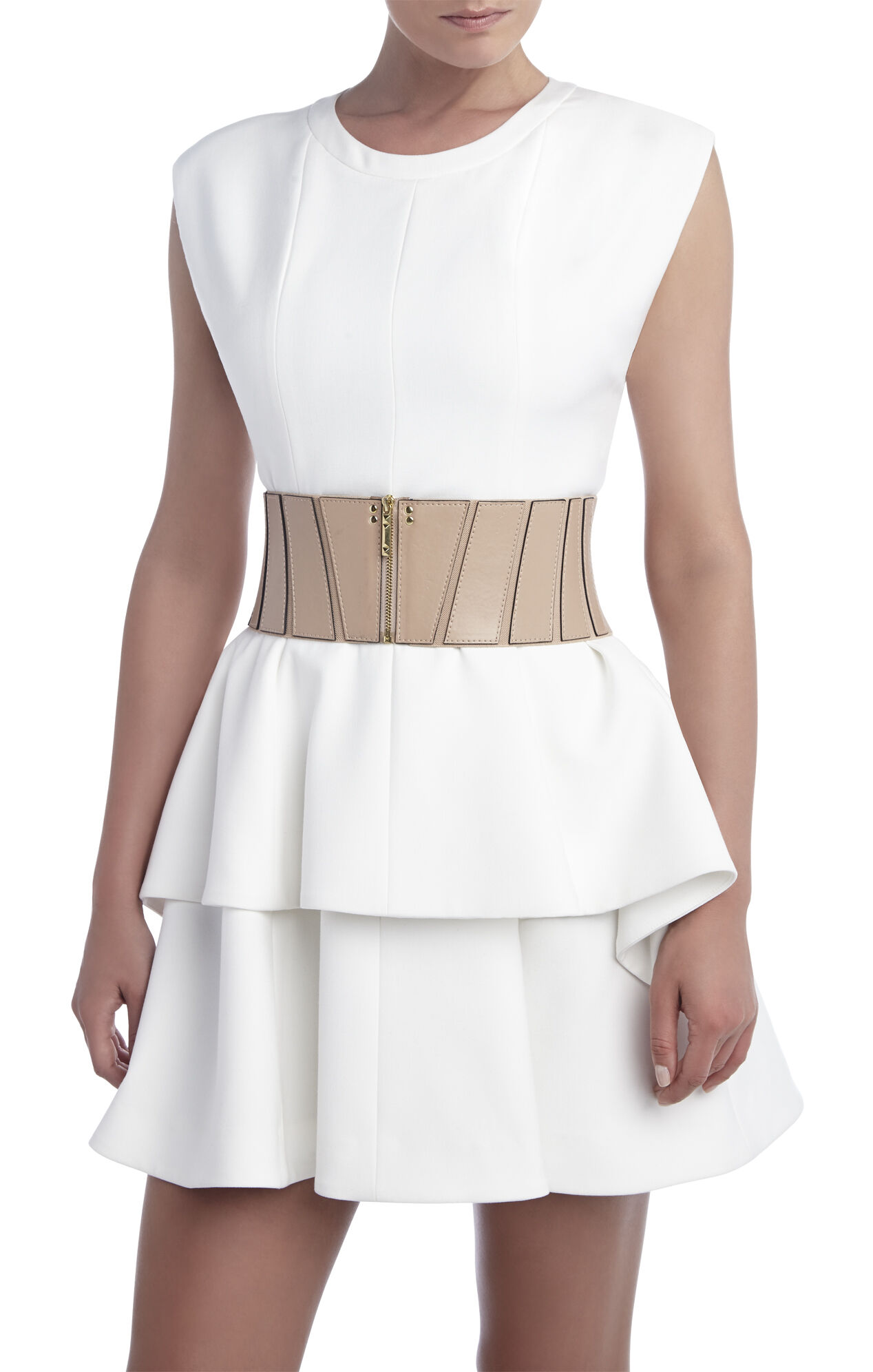 Paneled Zipper-Front Belt