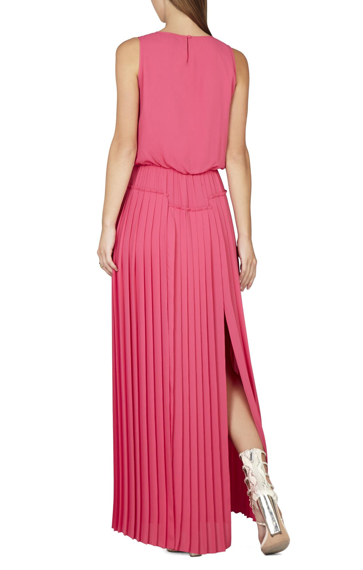 Jenine High-Slit Pleated Skirt Maxi Dress