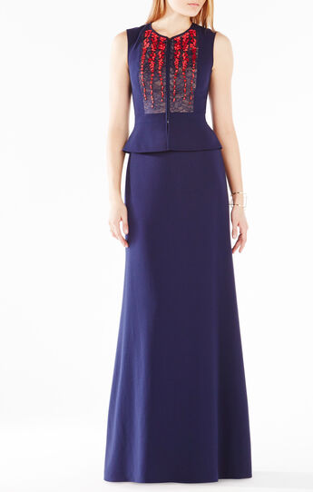Caetlyn Floral Embroidered Two-Piece Gown