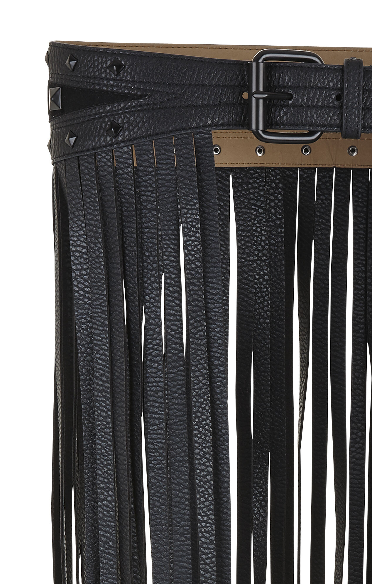 Long Fringe-Skirt Waist Belt
