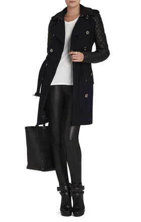 Isabella Leather-Sleeve Trench