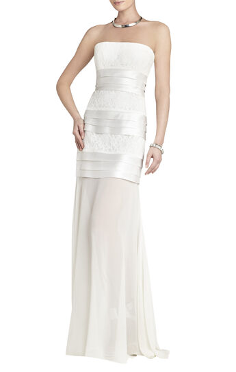 Shadie Strapless Blocked-Lace Gown