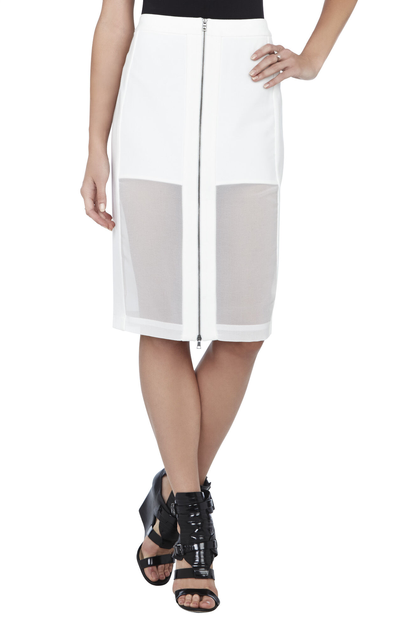 Francesca Chiffon-Panel Pencil Skirt
