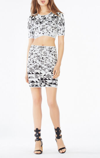 Gracy Triangle Knit Jacquard Crop Top