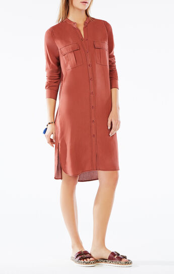 Maddox Button-Up Silk Dress