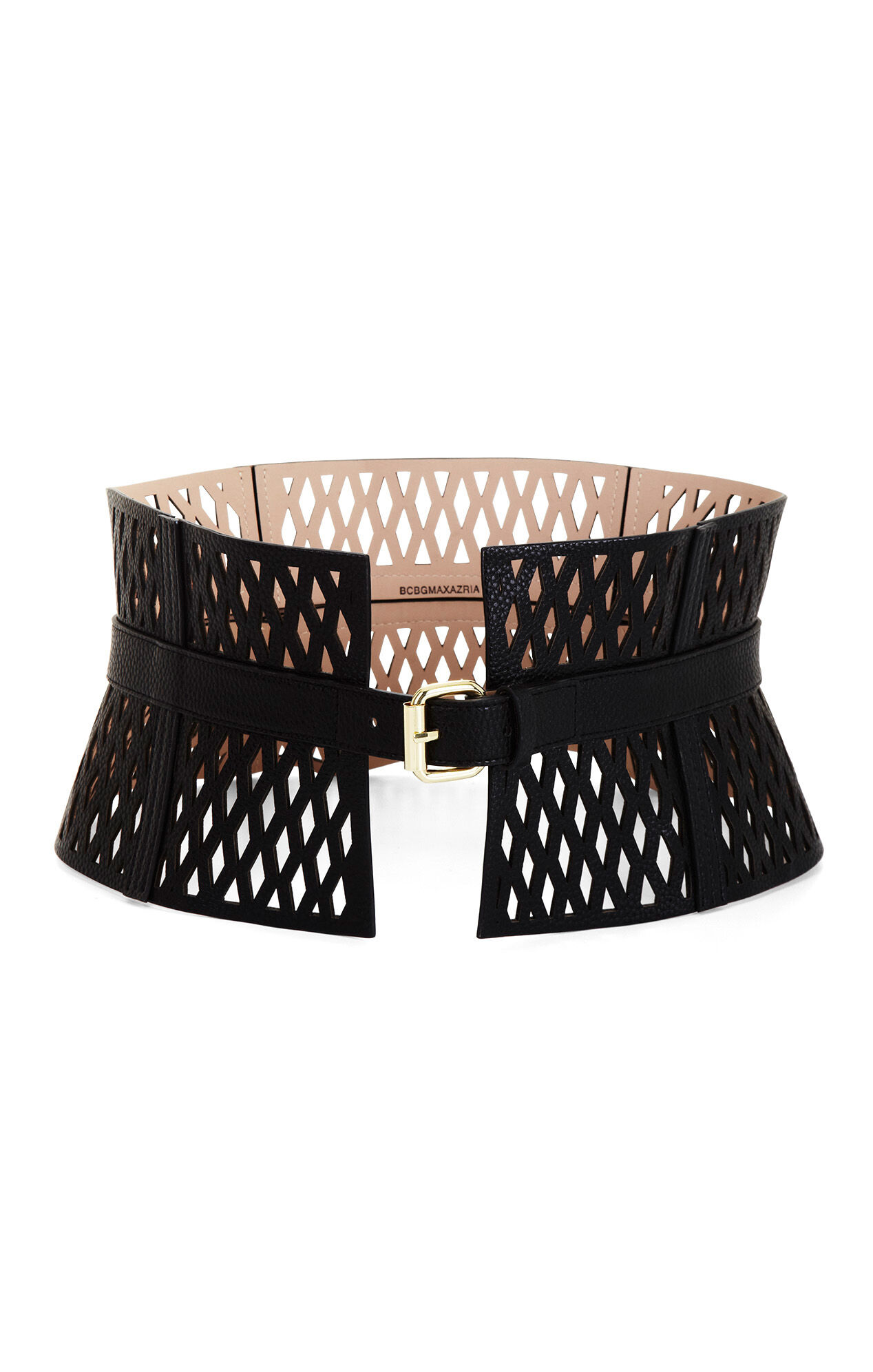 Cutout Faux-Leather Corset Waist Belt