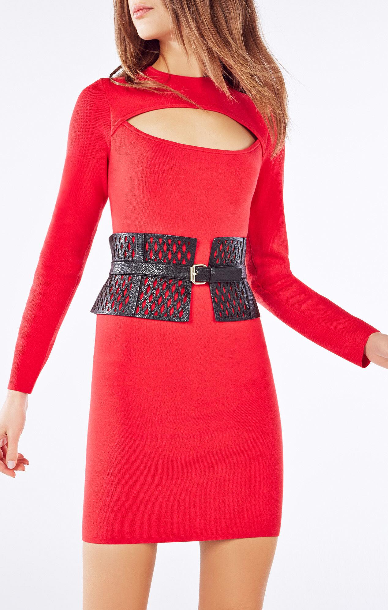 Cutout Faux-Leather Corset Waist Belt