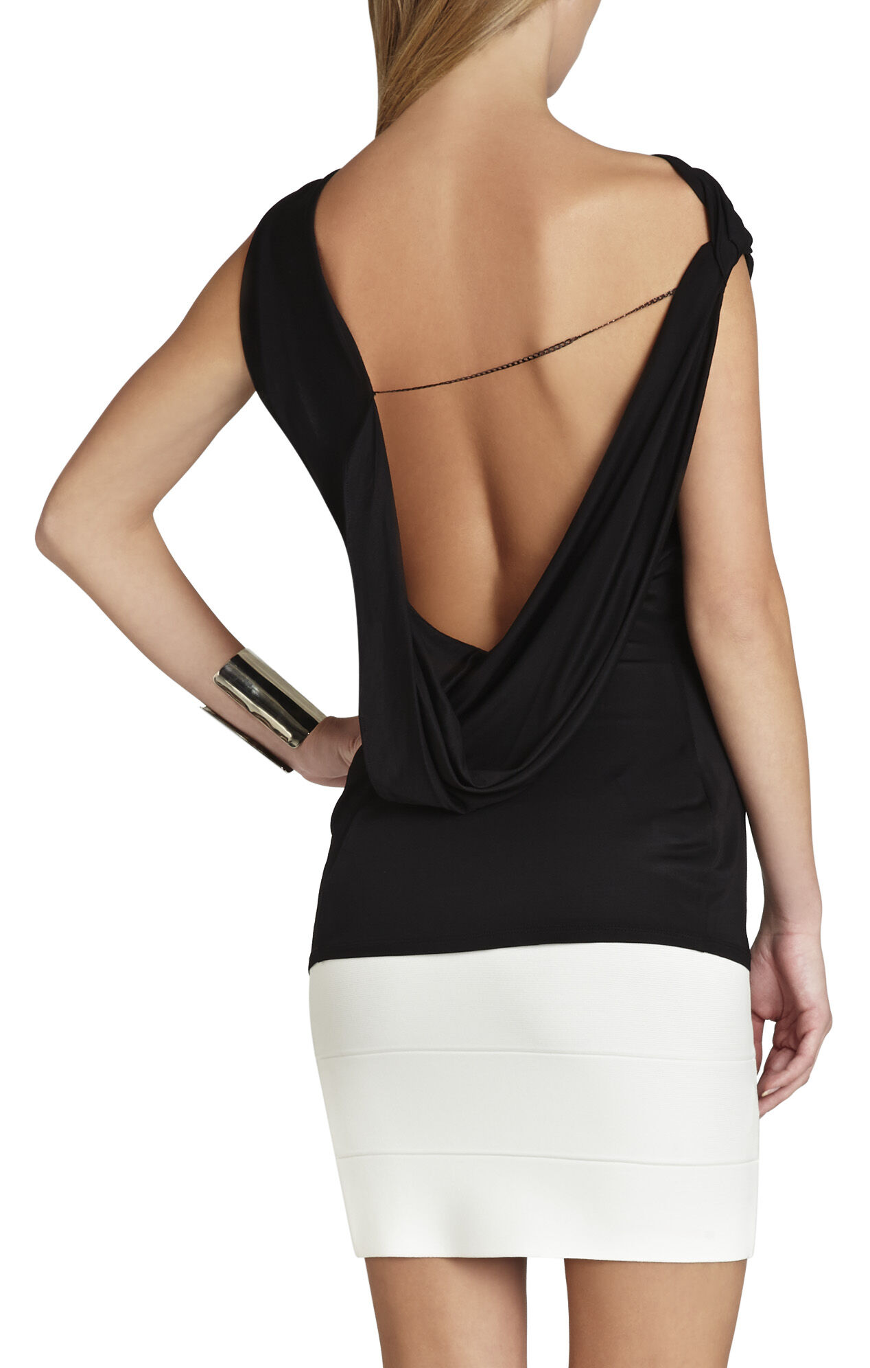 Jela Asymmetrical Draped-Back Top