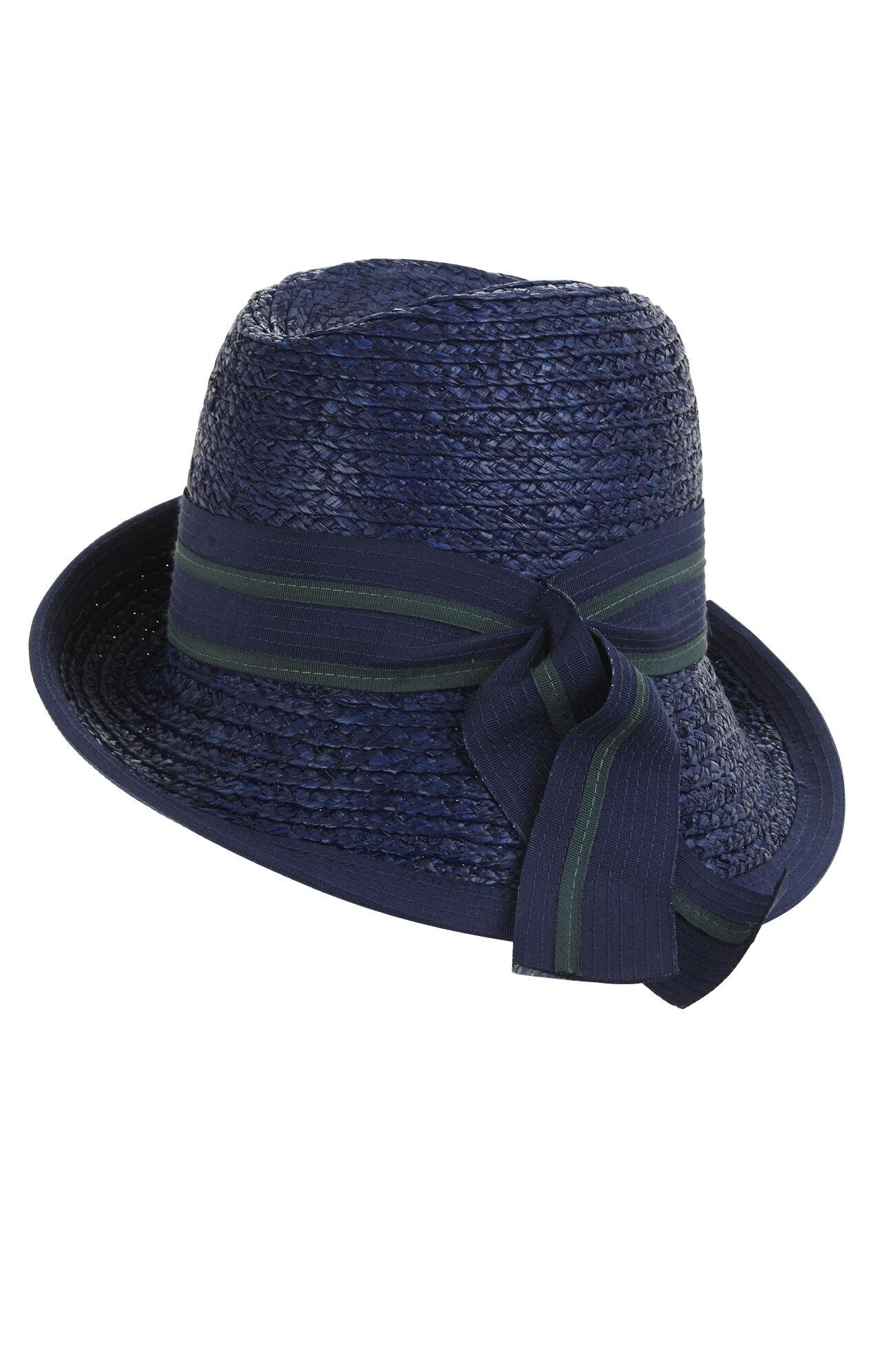 Asymmetrical-Brim Hat with Bow