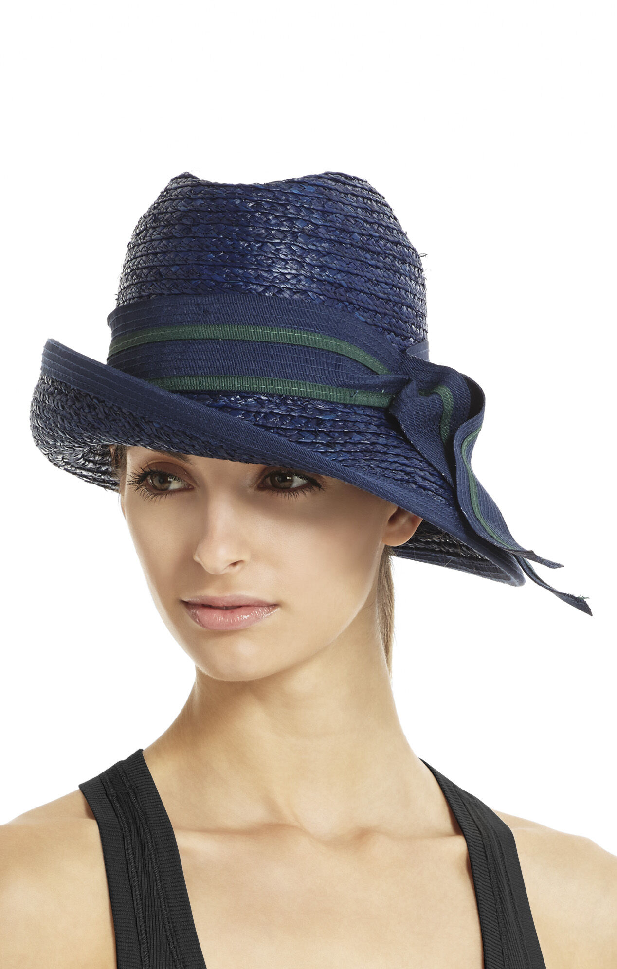 Asymmetrical-Brim Hat with Bow