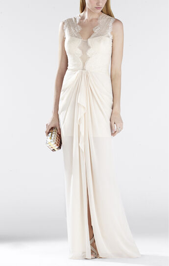Brandy Sleeveless Lace-Bodice Gown