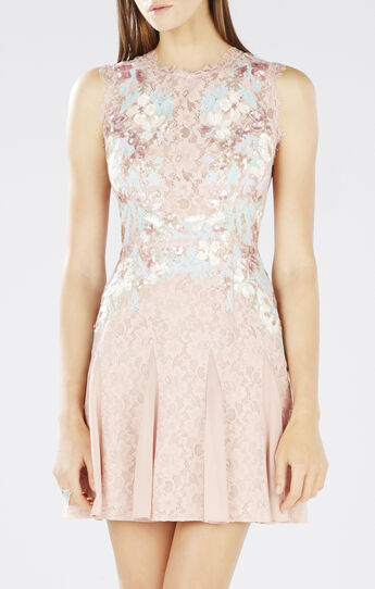 Vanessa Floral Lace Sequined Dress