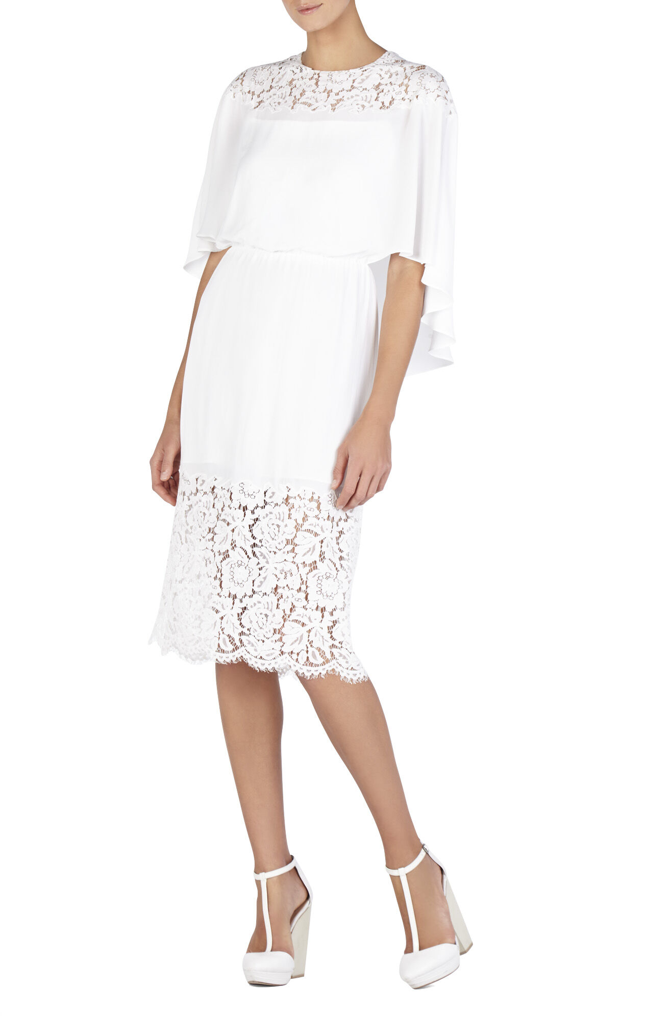 Lacie Lace-Blocked Cape Dress