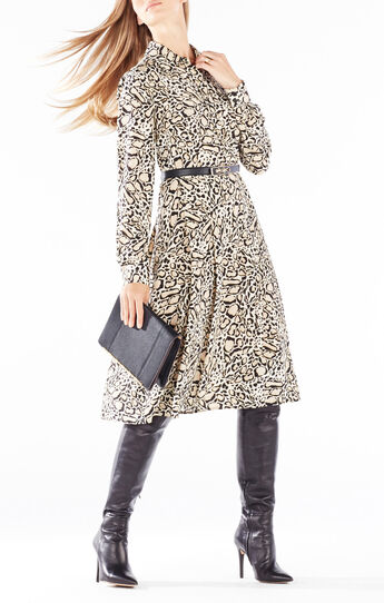 Sunnie Spotted Ocelot Print Shirt Dress