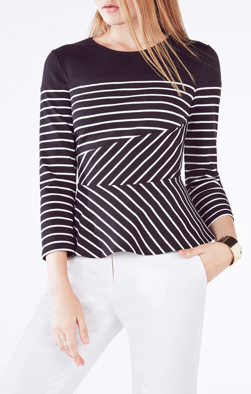 Graci Striped Peplum Top